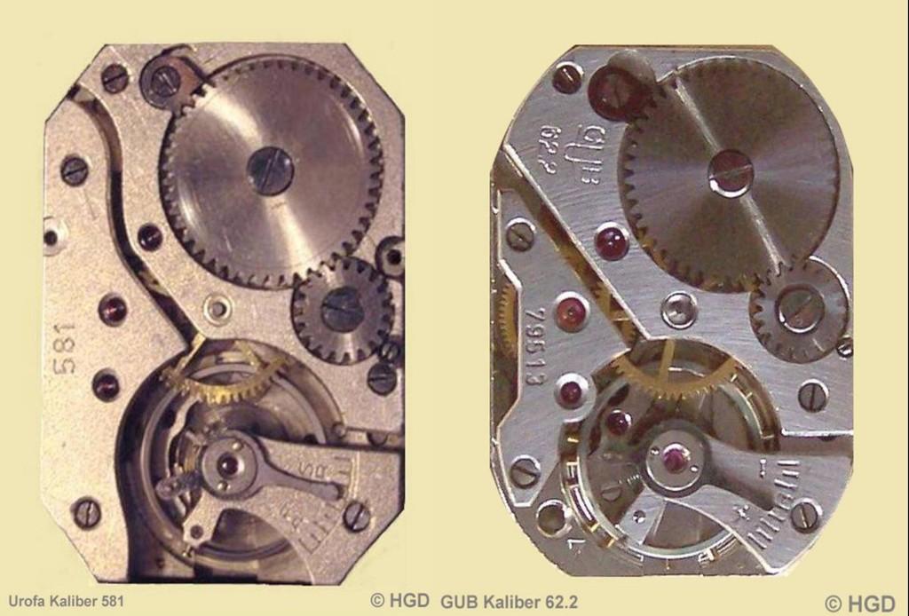 Werkkaliber Vergleich Urofa 581 & GUB 62.2 Zifferblattseitig