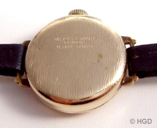 Walzgolddouble Gehäuse für Arctos Uhr der Pforzheimer Firma Weber & Aeschbach mit Urofa Werk Kaliber 522