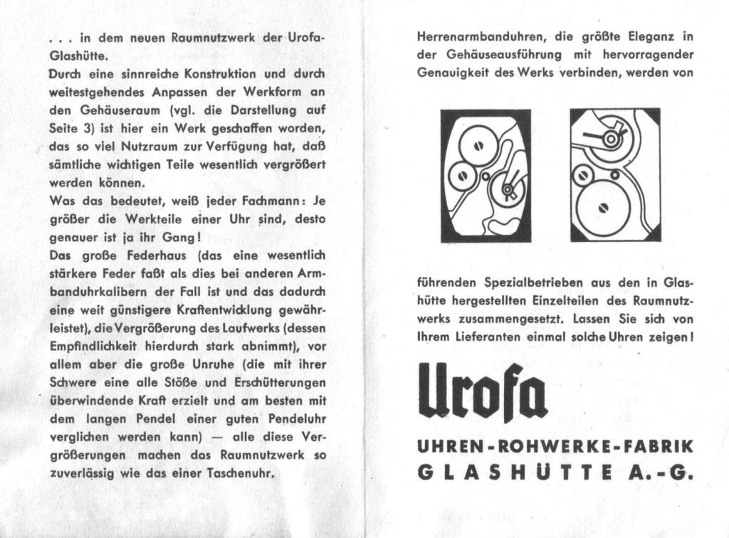 Werbeprospekt der Urofa für das Raumnutzwerk Kaliber 58
