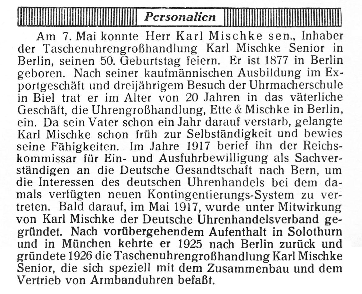 Quelle: Die Uhrmacher-Woche Nr.20 S.324/325
