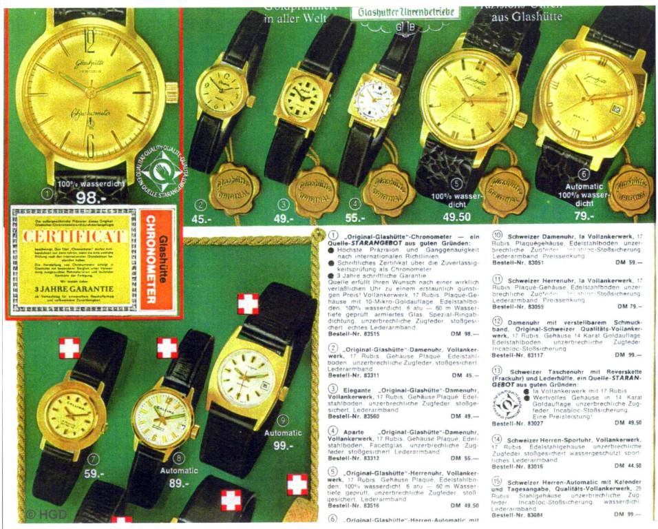 GUB Uhrenangebot 1967 beim Versandhaus Quelle