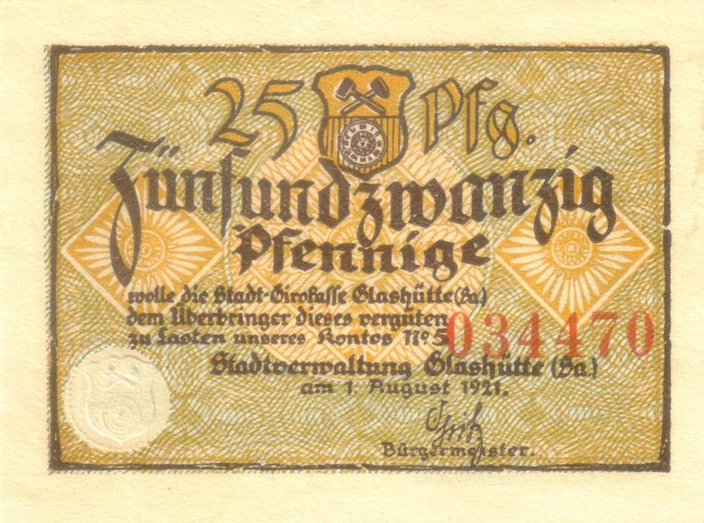 Der Aufdruck der Vorderseiten der 25 Pfennig Scheine ist gleich.