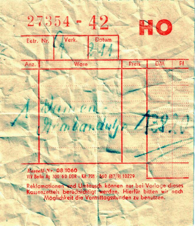 Der Kassenzettel von 1960 mit dem EVP von 138,20 M