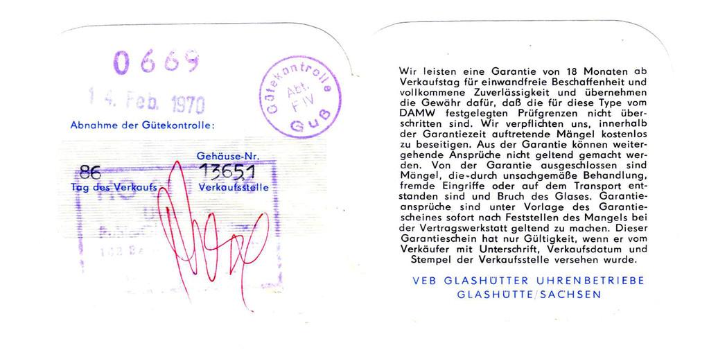 Garantieschein für Frackuhr Kal. 78 S. 2 & 3