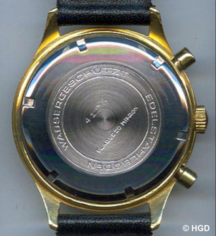 20 Mikron Plaque Gehäuse, Import Frankreich für GUB Schaltradchronograph Kaliber 64