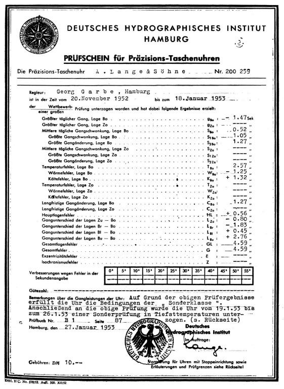 Prüfschein für Präzisions-Taschenuhren vom 27.01.1953 S.1