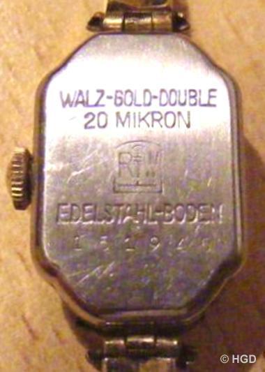 GUB Kal. 63 vergoldetes Gehäuse der Pforzheimer Firma Rodi & Wienenberger AG