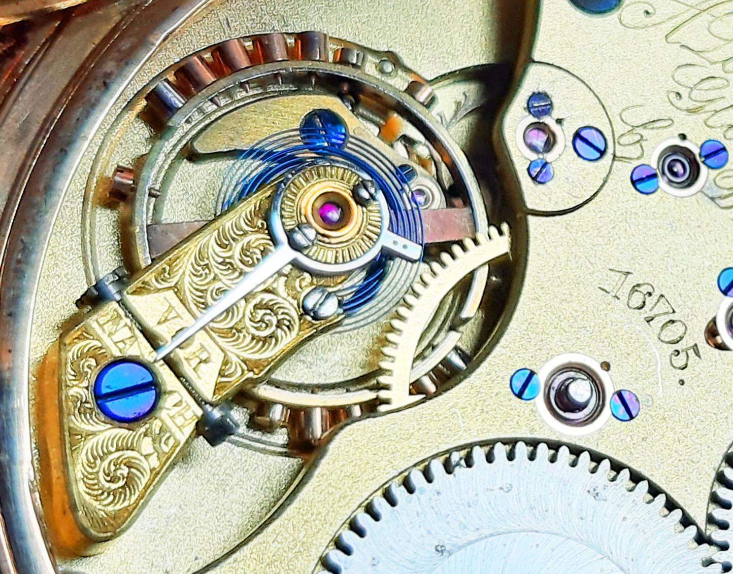 Bei der Firma A. Lange & Söhne nur bei wenigen Uhren verwendete Großmann Schraubenfeinregulierung
