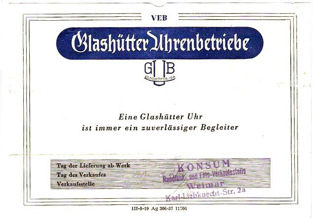 Garantieschein zur Uhr mit Verkaufsdatum von 1958