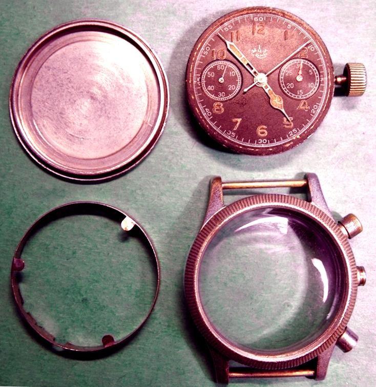 Werk, ZB u. Gehäuseteile vom Modell Kirowa - Deckel ohne Nummer und Hersteller Kennung