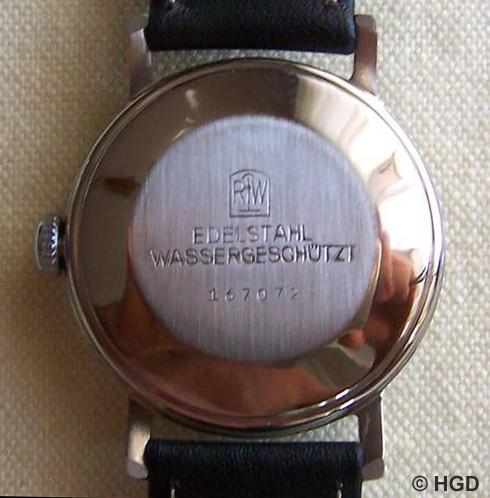 Edelstahlgehäuse mit gedrücktem Deckel der Pforzheimer Firma Rodi & Wienenberger AG für Kalibergruppe 60