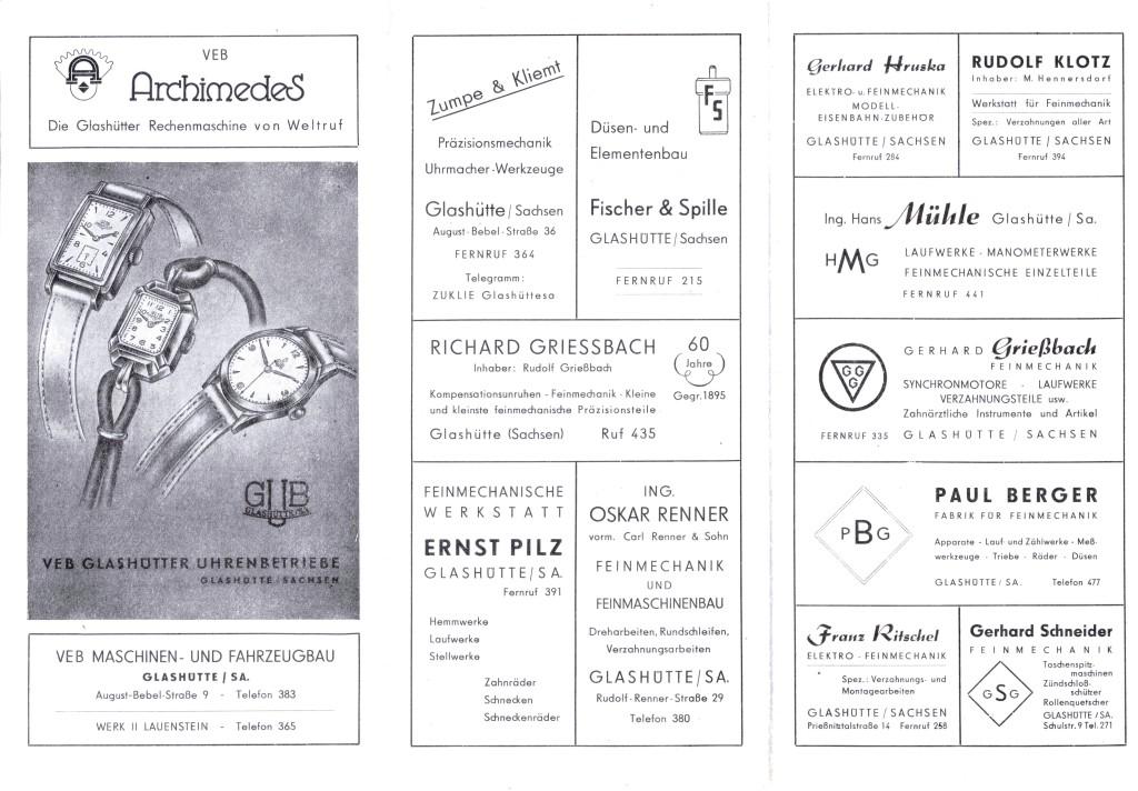 Industriewerbung Glashütte 1955  2. Seite