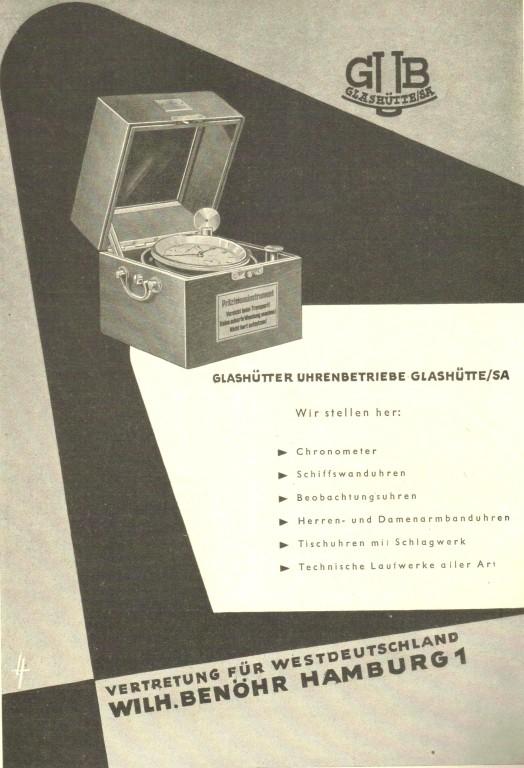 """Werbung der GUB in der Fachzeitschrift """"Die Uhr"""" im Juni 1957"""
