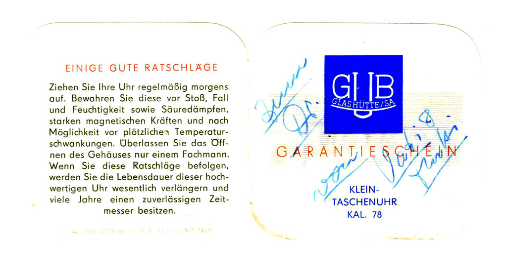 Garantieschein für Frackuhr Kal. 78 S.1 & 4