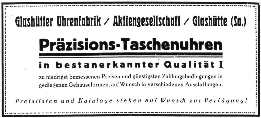 """Erste Werbung der neuen Glashütter Firma im Dezember 1926 im Fachorgan """"Die Uhrmacher-Zeitung"""""""