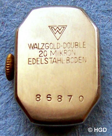 GUB Kal. 63 vergoldetes Gehäuse mit Edelstahldruckdeckel der Pforzheimer Firma Ernst Wagner OHG