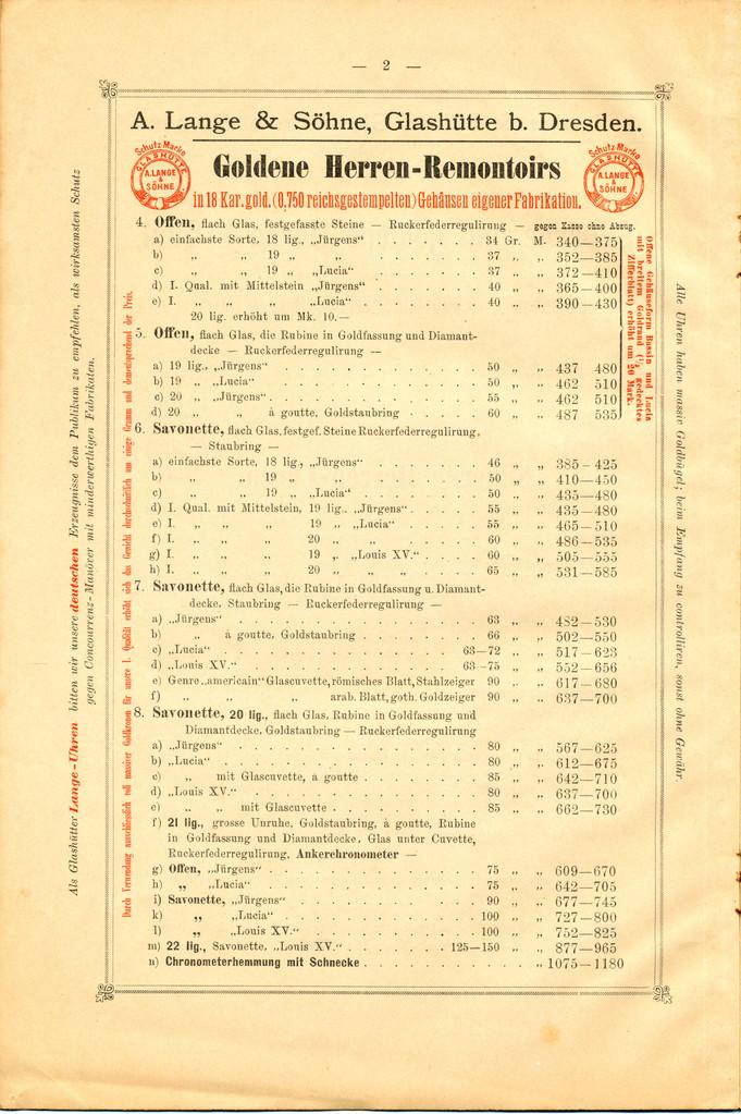 Seite aus ALS Katalog 1899