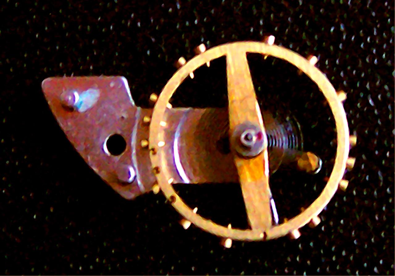 Unruhkloben mit Nivarox 1 Spirale und vergoldeten Ankerrad
