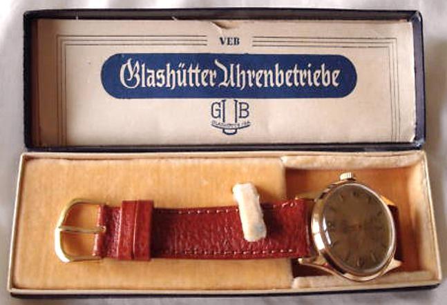 Getragene Herrenarmbanduhr GUB Kaliber 60 - Güteklasse 1 - in Originalverpackung mit Garantieschein
