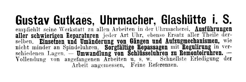 Gustav Gutkaes Uhrmacher Werbung Deutsche Uhrmacherzeitung 1886 Nr.15