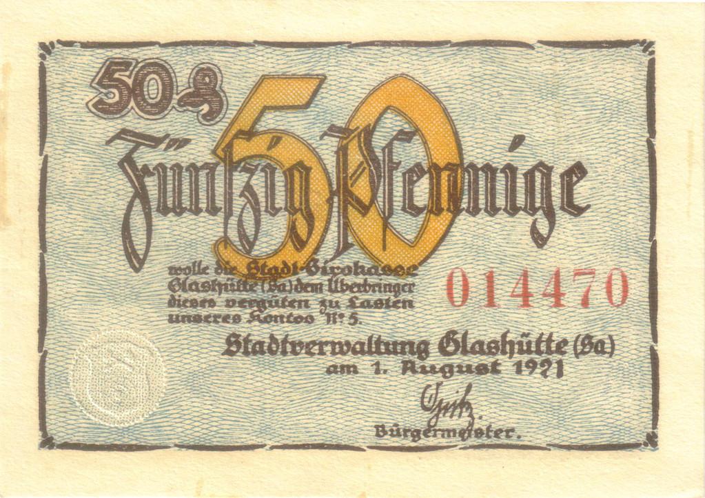 Der Aufdruck der Vorderseiten der 50 Pfennig Scheine ist gleich