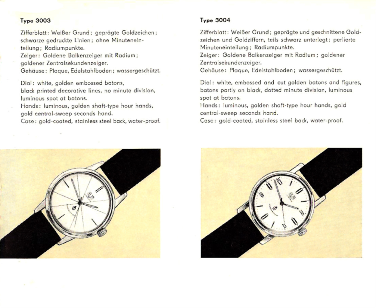 Messeprospekt  für die Modellausführungen des Armbanduhrchronometers