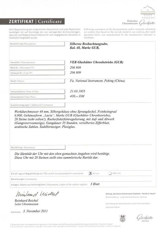 Zertifikat des Uhrenmuseums Glashütte