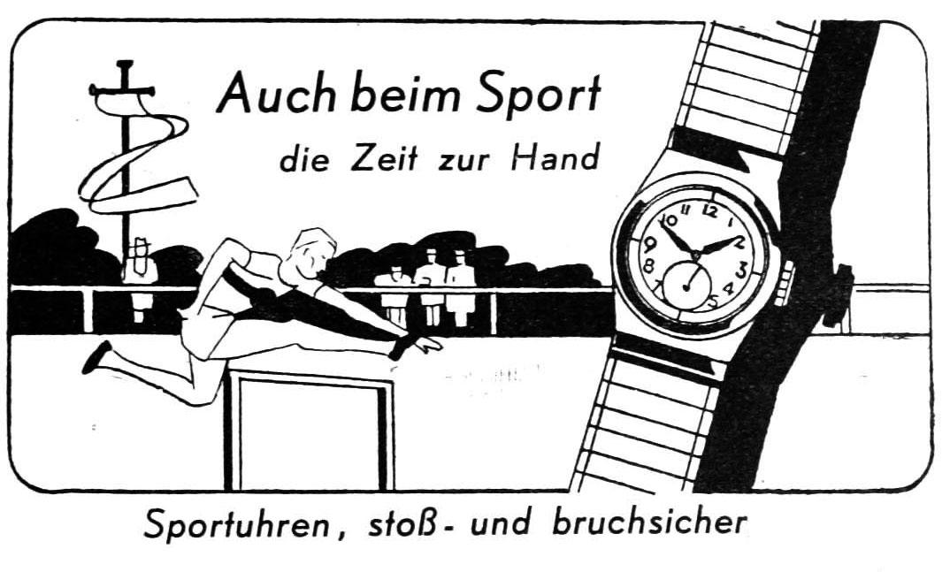 Sportuhrwerbung in der Uhrmacher-Woche 1938