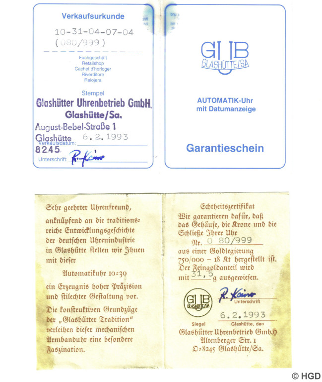 Zertifikat GUB GmbH Automatikuhr Nr.80 Kaliber 10-30