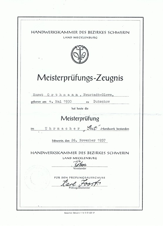 1957 für Uhrmachermeister Horst Orthmann augestellter Meisterbrief