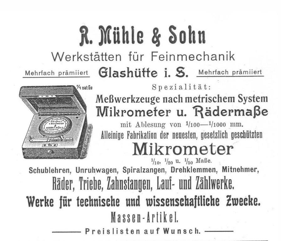 Werbung in Saxoniabericht 1911