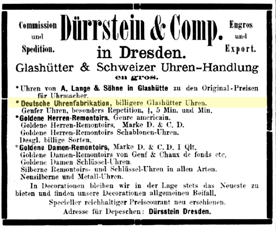 Dürrstein Werbung in der Deutschen Uhrmacher-Zeitung 1879