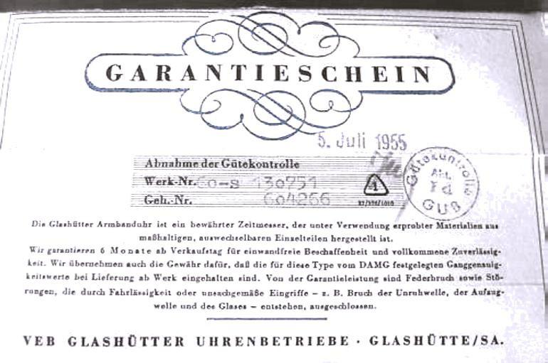 Originalgarantieschein zur vorgestellten Uhr - einzige Möglichkeit die Originalität einer Uhr der Kalibergruppen 60, 70 & 11 der GUB festzustellen