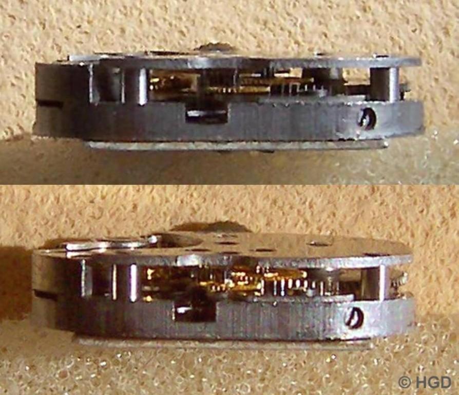 Seiteneinblick in das Werkkaliber 12 der Uhrenfabrik Kurtz