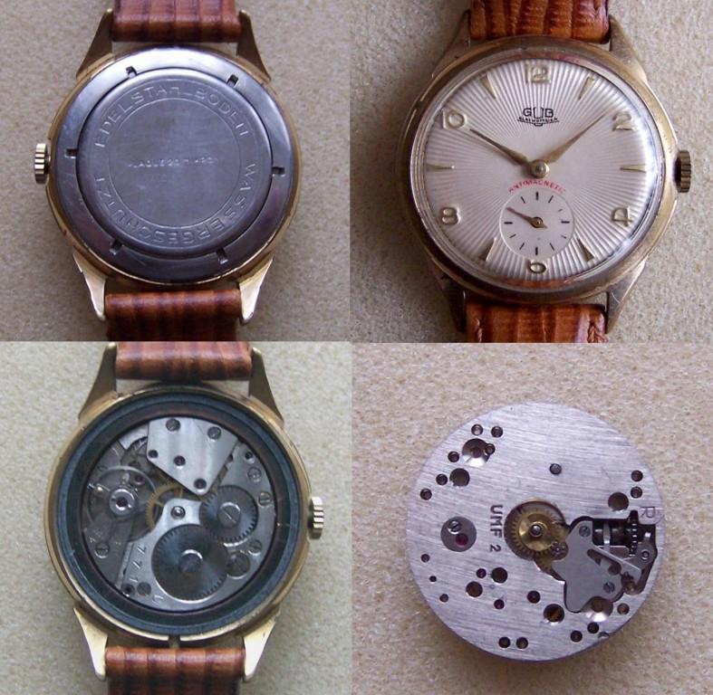 Eine Ruhla Kal. 2 im Gewand einer GUB Kal. 60. Als GUB Uhr beworben, ist es eine Fälschung.
