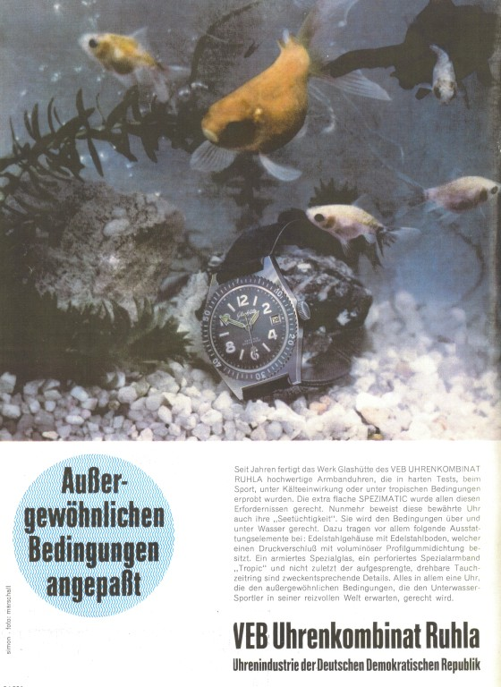"""1969 die 1. Taucheruhr der GUB Kal.75 beworben in der Fachzeitschrift """"Uhren und Schmuck Heft 6/1969"""