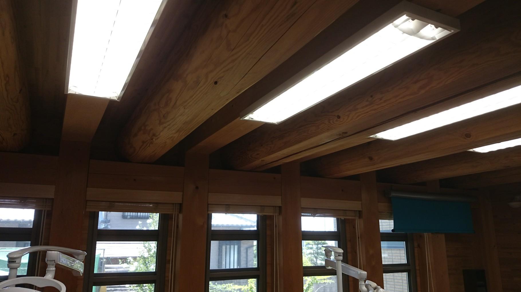 診療室天井 丸太の梁がむき出しに組まれている