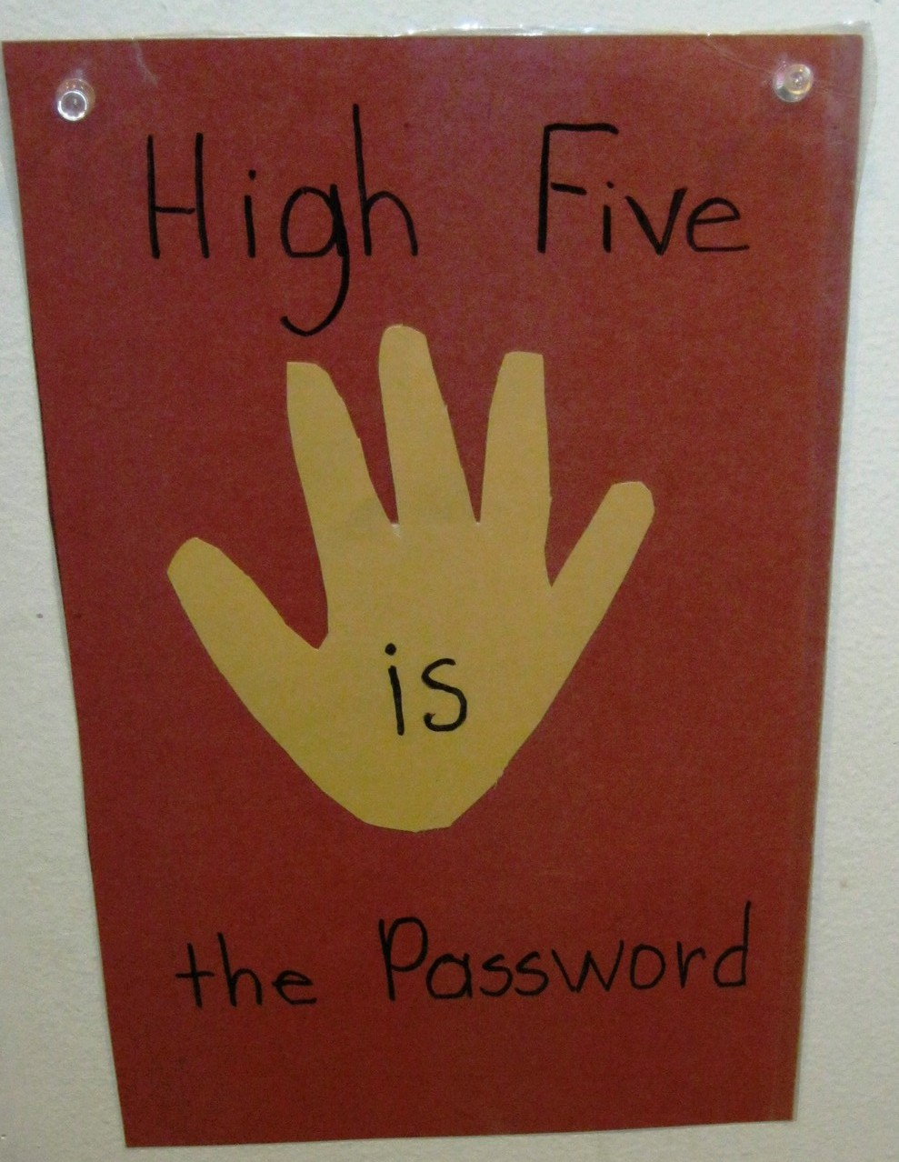 We become familiar with sight words with a high five as we pass by.