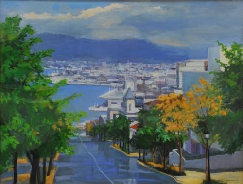 北村禎子  (大阪)    芸術新聞社賞 『雨上がる八幡坂』 油彩