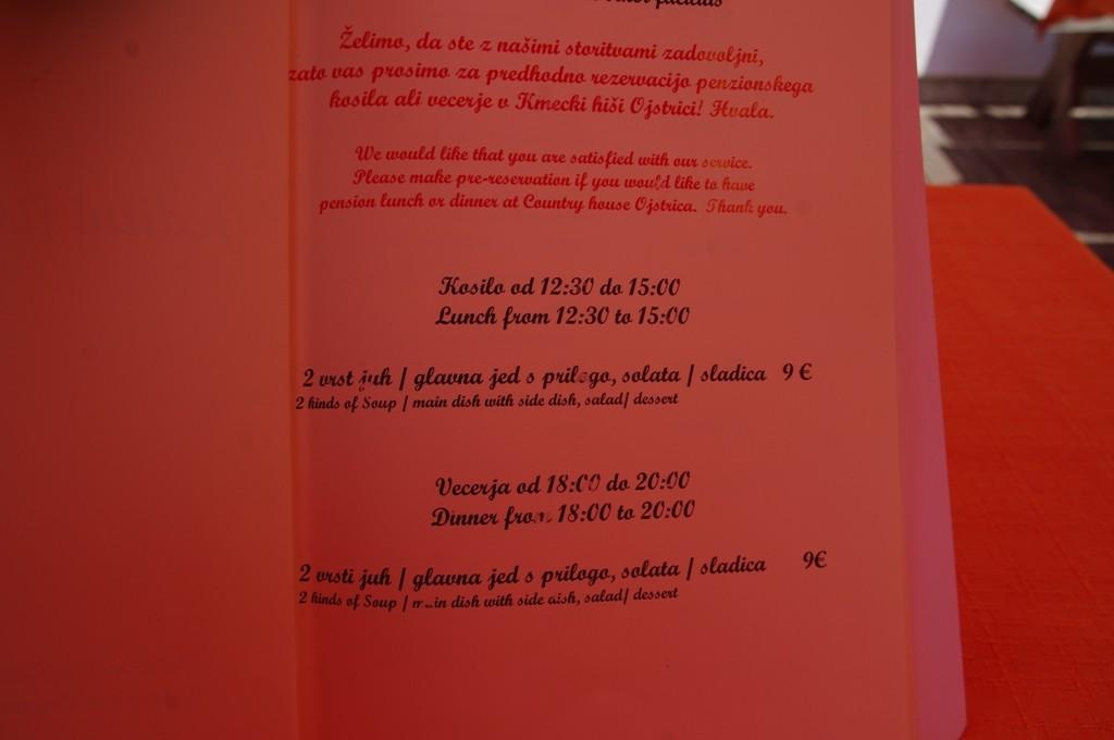 Le menu à 9 euros !