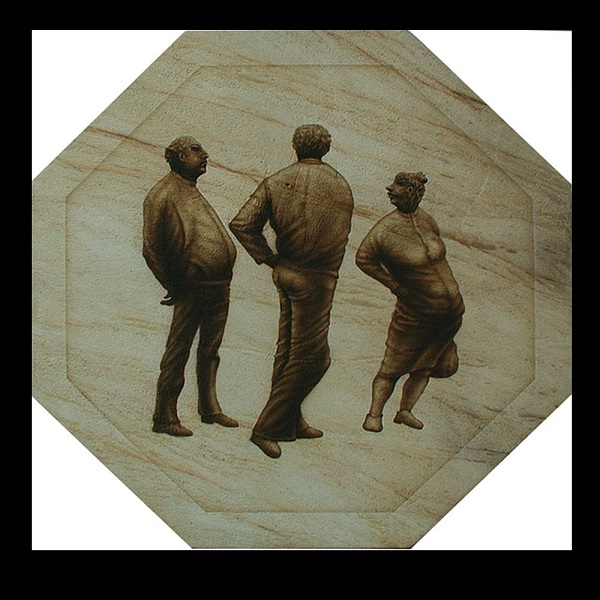 Harry Berthold (Germany), The Three Gabbers – Giessen – Airbrush on Sandstone Varnish