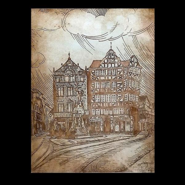 Janina Fraczek (Poland), The Old Marketplace, Giessen – Etching