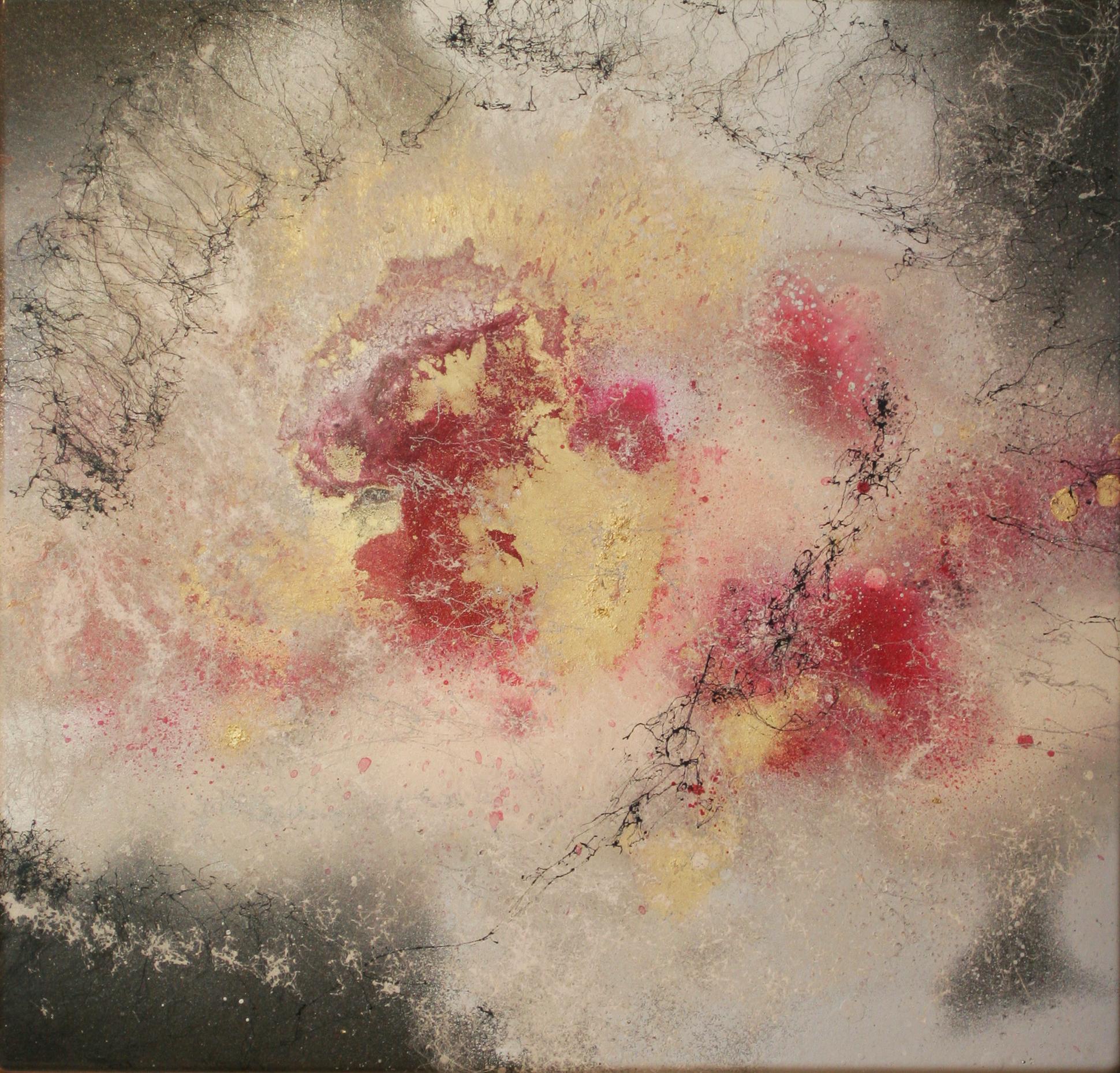 Nebel I, 2016, Acryl, Lack auf Emaille-Platte, 46x44cm