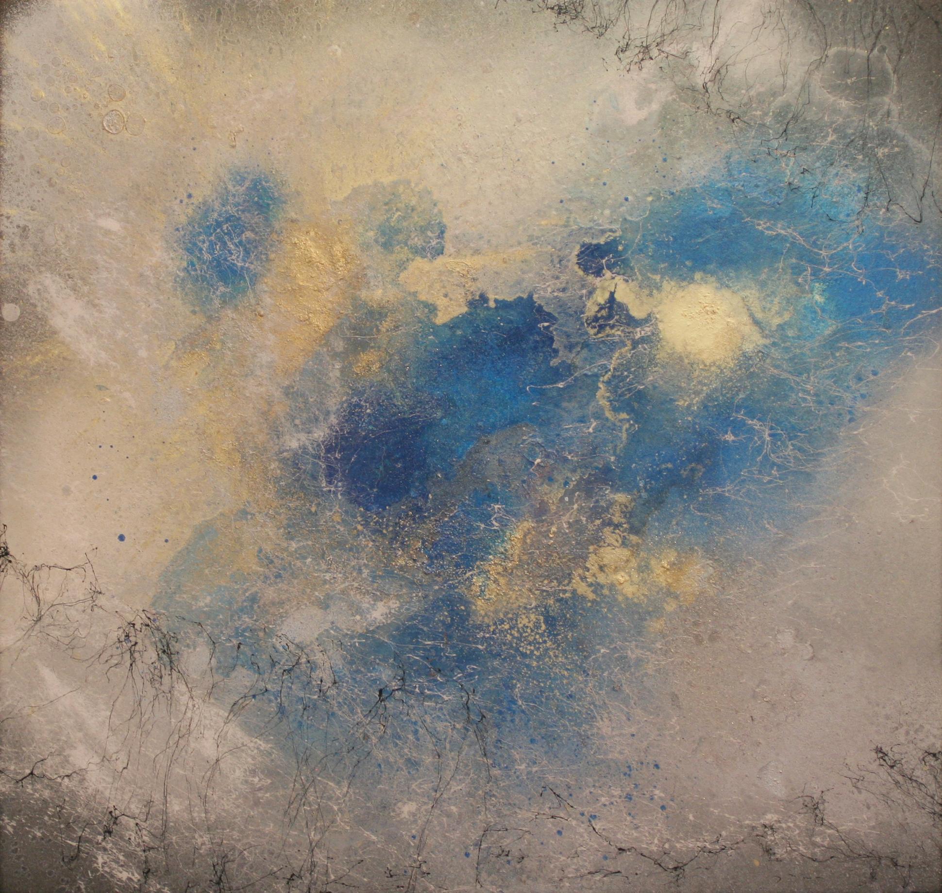 Nebel II, 2016, Acryl, Lack auf Emaille-Platte, 46x44cm