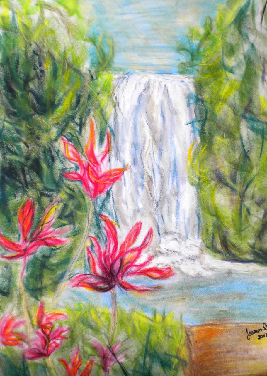 Milla-Milla-Falls, Öl-Pastellkreide auf Velours
