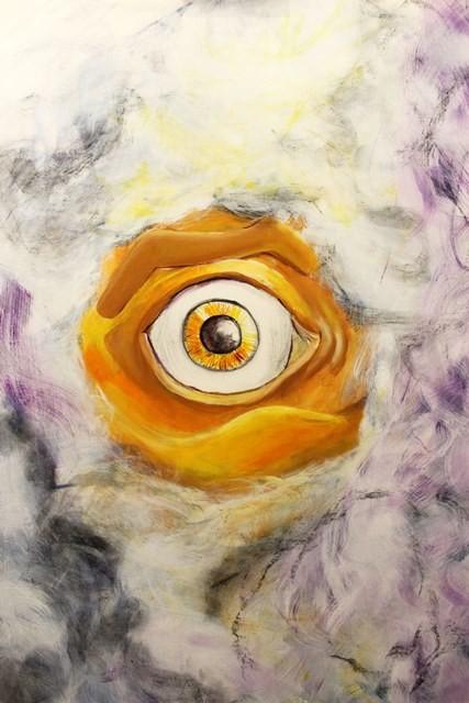 Im Auge des Orkans, Acryl auf MDF-Platte, 50 x 70 cm