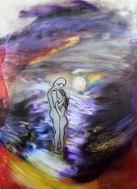 Farbnächte, Acryl auf Glasscherben, 70 x 50 cm