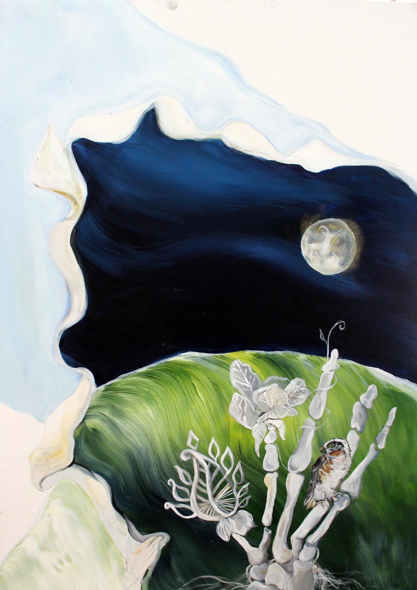 """Mondgesang"", Acryl auf MDF-Platte; 70 x 50 cm"