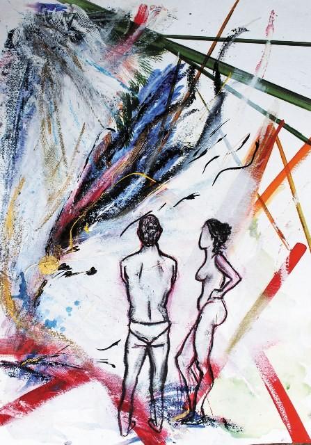 Der Funke, Acryl auf Malkarton, 70 x 50 cm