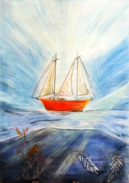 Segelträume, Kreide auf Velours, 70 x 50 cm